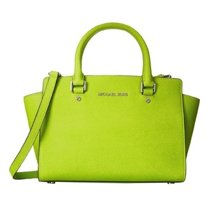 Michael Kors Mk Satchel in Pear Green/Silver hardware