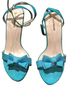 Shoe Bank Heels Bow Teal Pumps