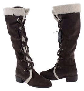 Delman Shearling Tall Boot Brown Boots