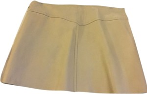 BCBGMAXAZRIA Mini Skirt Cream 100% leather