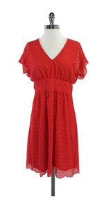 Adrianna Papell short dress Coral Lace Short Sleeve on Tradesy