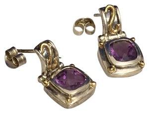 Other Sterling Silver With 14k Yellow Gold Genuine Amethyst Earrings
