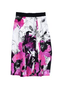 MILLY Pink Black Floral Print Skirt