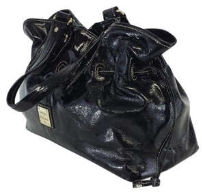 Dooney & Bourke Black Patent Leather Drawstring Shoulder Bag