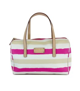 Kate Spade Tan Pink Striped Leather Hobo Bag