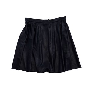 Amanda Uprichard Black Vegan Leather Skater Skirt