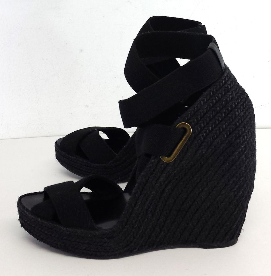 a6b6cb88c23 Black Michel Cazabat- Woven Wedge Sandals. Size  US 10 Regular (M ...