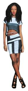 Noneillah Pencil Eclectic Pettite Skirt Black/Gray/White