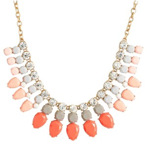J.Crew NWT J CREW CRYSTAL AND STONE ROWS NECKLACE NEON FLAME W DUST BAG