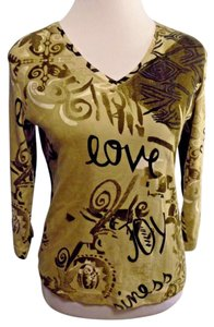Chico's Casual Cotton 3/4 Sleeve T Shirt Brown and beige