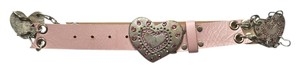 bebe Bebe Pink Leather Heart Belt