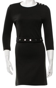 Tory Burch Silver Hardware Reva Belted Logo Longsleeve Dress