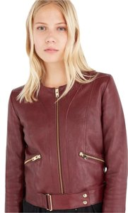IRO Fall Burgundy Leather Moto Leather Burgundy Red Leather Jacket