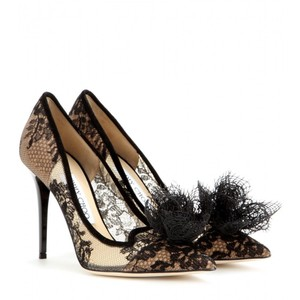 Jimmy Choo Lace Pointed Toe Domino Black, Beige Pumps