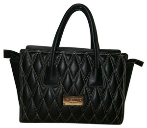 Mario Valentino Suede Leather Tote in Black, Rose gold