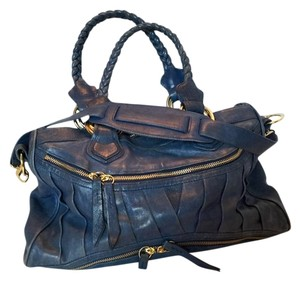 Treesje Blue Leather Large Satchel in Navy Blue