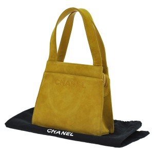 Chanel Vintage Luxury Suede Monogram Leather Satchel in yellow