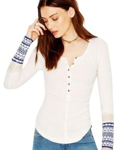 Free People Thermal Button Down Shirt White