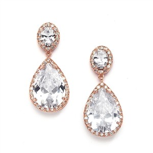 Mariell Mariell Cz Drop Rose Gold Wedding Earrings 2074e