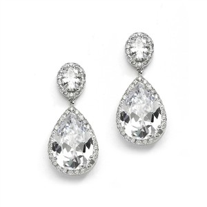 Mariell Mariell Cz Drop Silver Wedding Earrings 2074e