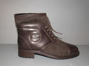 Chanel Suede Motorcycle Ankle Short Brown Boots