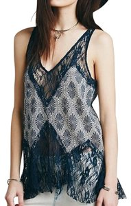 Free People Print Lace Unworn Top Indigo Blue