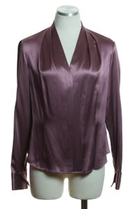 Lafayette 148 New York Woven Silk Long Sleeve French Cuff Button Down Shirt Mauve