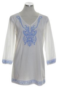 J.McLaughlin Woven 3/4 Sleeve Embroidered Tunic