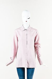 The Row Cinder Rose Silk Marfa Ls Collared Button Up Top Red