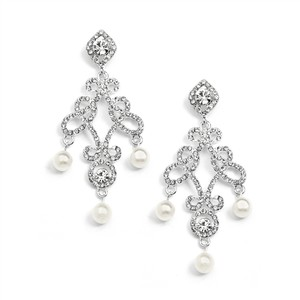 Mariell Vintage Wedding Pearl Chandelier Earrings 3486e