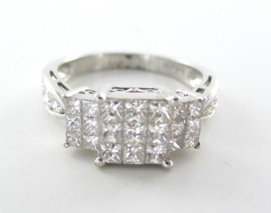 Other 18K SOLID WHITE GOLD INVISIBLE SETTING 27 DIAMONDS BAND WEDDING ENGAGEMENT RING