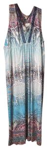Multi Maxi Dress by One World New With Tags Plus-size Maxi Sleeveless Empire Waistline