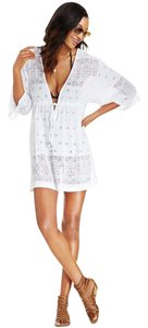 dotti DOTTI WHITE LASER CUT V NECK KIMONO SLEEVE SWIMSUIT COVER UP L