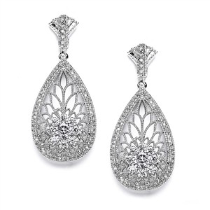 Mariell Art Deco Etched Cubic Zirconia Bridal Earrings 4021e