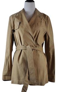 Ellen Tracy Suede Belted Wrap Camel Leather Jacket