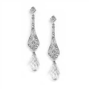 Mariell Silver Dainty Art Deco Cubic Zirconia Or Prom with Crystal Dangles 4022e Earrings