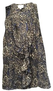 Parker Multi Color Print Silk Animal Print Top Grey and Blue