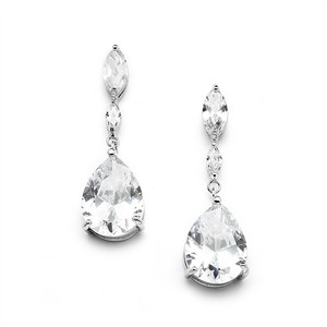 Mariell Silver Cubic Zirconia with Dainty Marquise Pear Drop 4154e Earrings