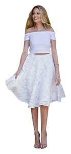 Ladix French Lace Lace Skirt White