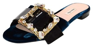 Miu Miu Velvet Buckle Crystal Sandals