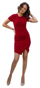 Olivaceous short dress Red Asymmetrical on Tradesy