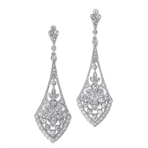 Mariell Silver Dramatic Vintage In Cubic Zirconia 1072e-s Earrings