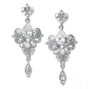 Mariell Silver Art Nouveau Cubic Zirconia Wholesale 741e-cr Earrings