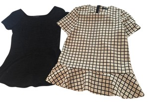 Zara Peplum Top Black/White