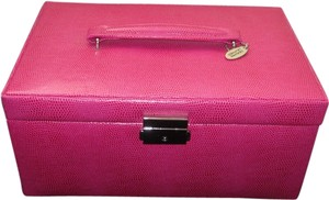 Pink Embossed Leather Jewelry Storage Case/Organizer