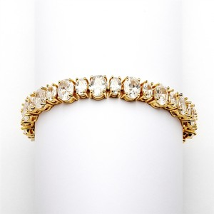 Mariell Spectacular Multi Ovals Gold Cubic Zirconia Wedding Or Pageant Bracelet 4125b-g-6