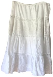 Lauren Jeans Company Lined New With Tags Cotton Petticoat Style Elastic Waistband Skirt White