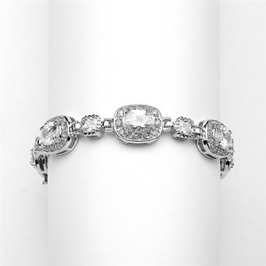 """Mariell Silver Exclusive 6 1/2"""" Designer Cz Or Special Occasion Rhodium 4130b-s-6 Bracelet"""