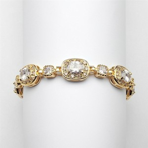 "Mariell Gold 6 1/2"" Designer Cz Or Special Occasion with 14k Plating 4130b-g-6 Bracelet"