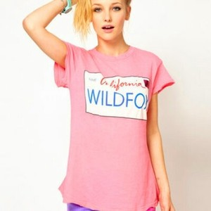 Wildfox Graphic T Shirt Pink